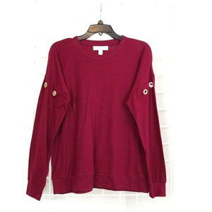 Michael Kors Burgundy Diamond Encrusted Sweatshirt